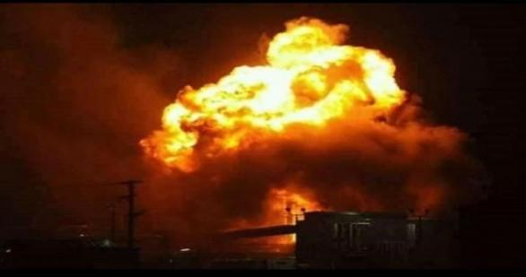 الصورة للانفجار في مطار المزة العسكري -أنترنيت