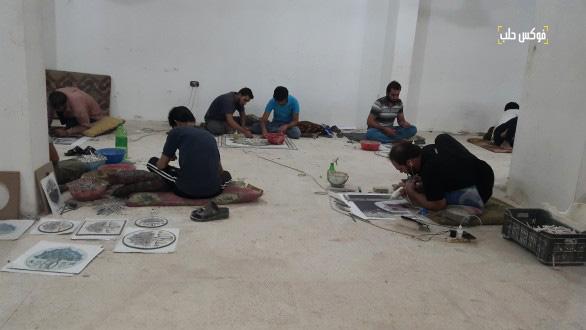 ورشة تصنيع الفسيفساء في مدينة كفر نبل بمحافظة إدلب.
