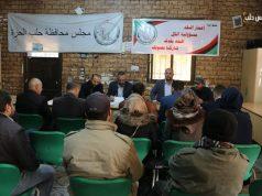 جانب من المؤتمر الصحفي في بلدة عنجارة ريف حلب الغربي.