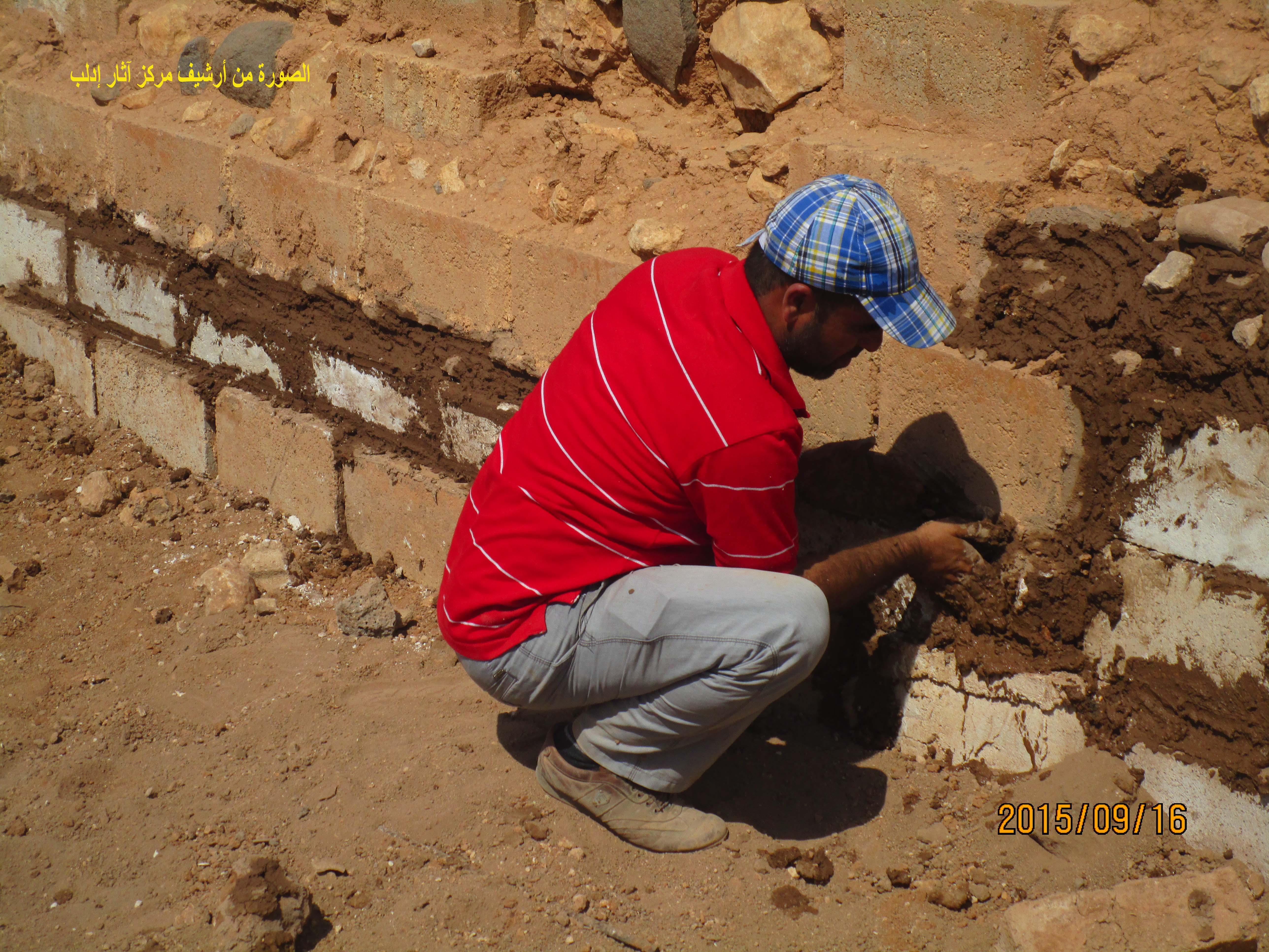 عمليات ترميم معبد عشتار والدرج المؤدي إلى القصر ج (مركز آثار إدلب.