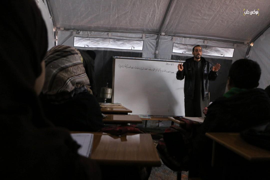 """خلال العملية التعليمية في مدرسة """"شويحنة البوعيسى"""" في مخيم قرطبة1"""