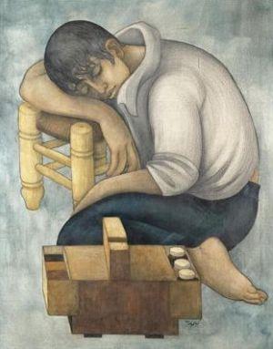 ماسح الأحذية -لوحة للفنان التشكيلي السوري لؤي كيالي