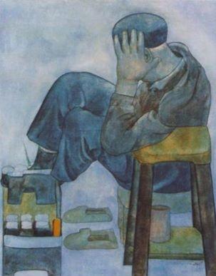 ماسح أحذية - لوحة للفنان التشكيلي السوري لؤي كيالي