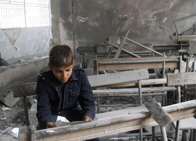 صورة تظهر دمار احدى المدارس في ريف ادلب -إنترنيت