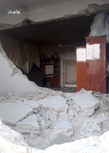 منزل الكاتبة بعد تعرضه للقصف