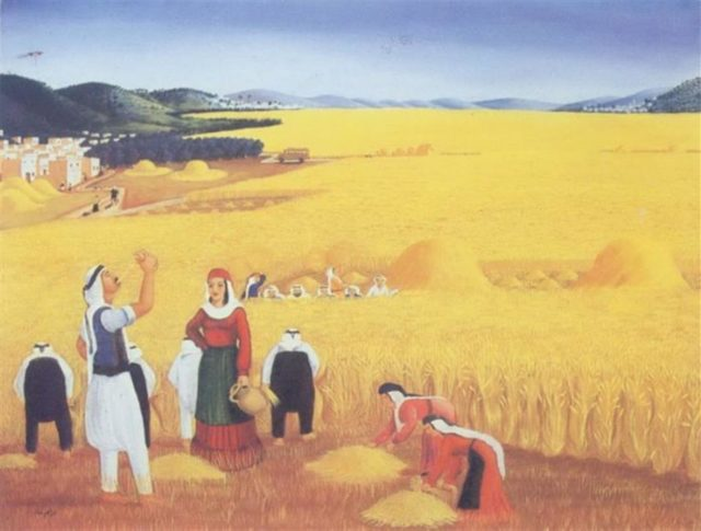 لوحة «الحصاد» للفنان ابراهيم غنام-انترنيت