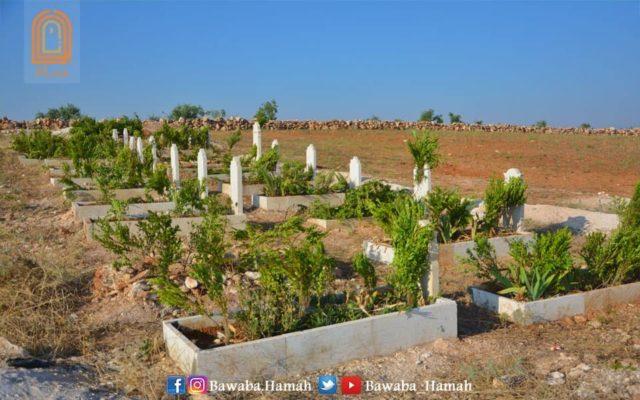 مقبرة الشهداء في قرية أم زيتونة بريف إدلب -إنترنيت