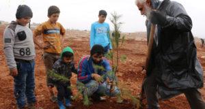 من حملة التشجير الطوعي بريف حلب الغربي