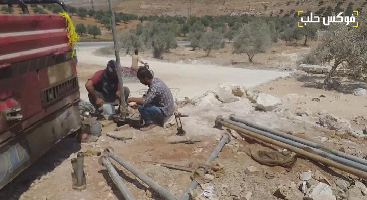 حفر يئر ارتوازي في ريف إدلب
