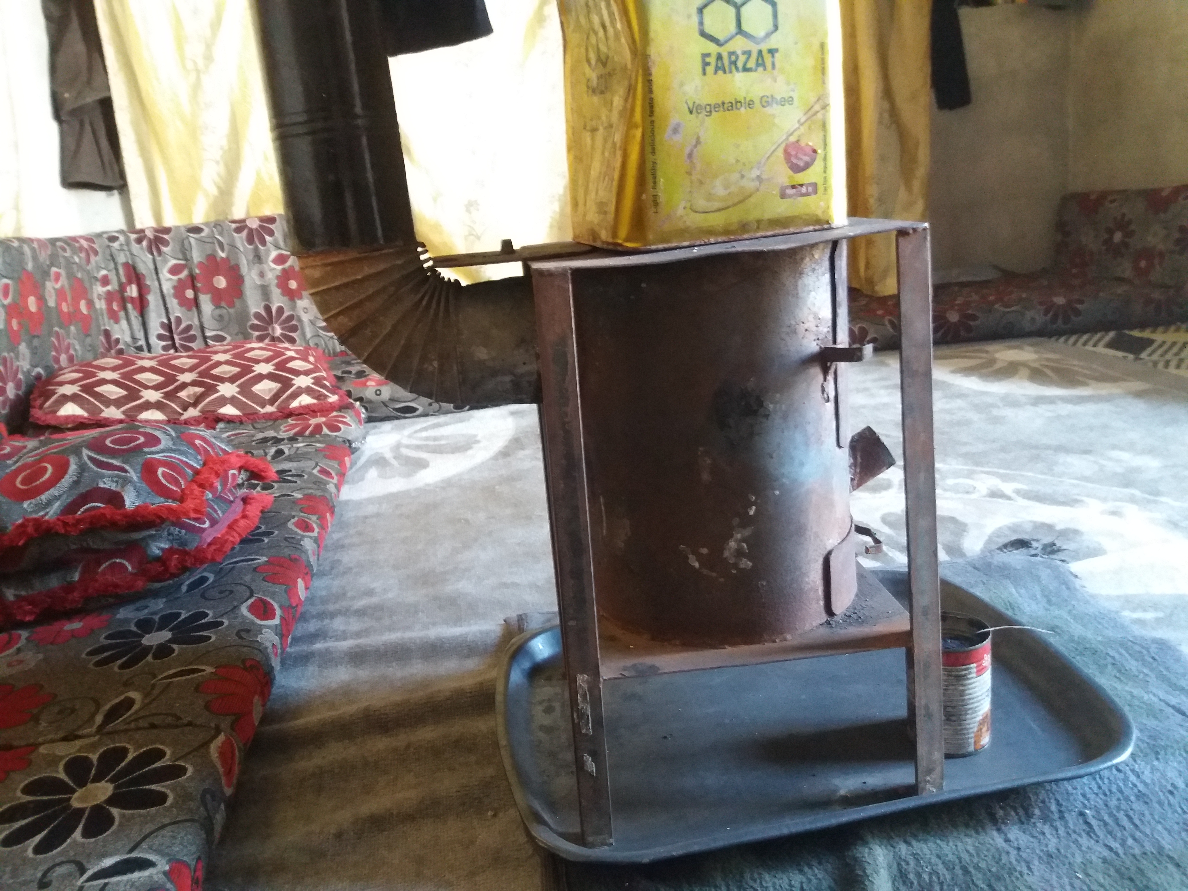 مدفأة مصنعة محلياً لاستخدام الفحم الحجري والمخلفات النفطية -فوكس حلب
