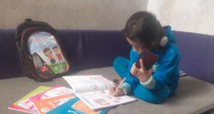 تلميذة خلال عملية التعليم عن بعد في إدلب -فوكس حلب