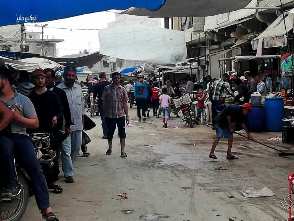 سوق مدينة الأتارب بعد إعادة ترميمه وعودة قسم من سكان المدينة