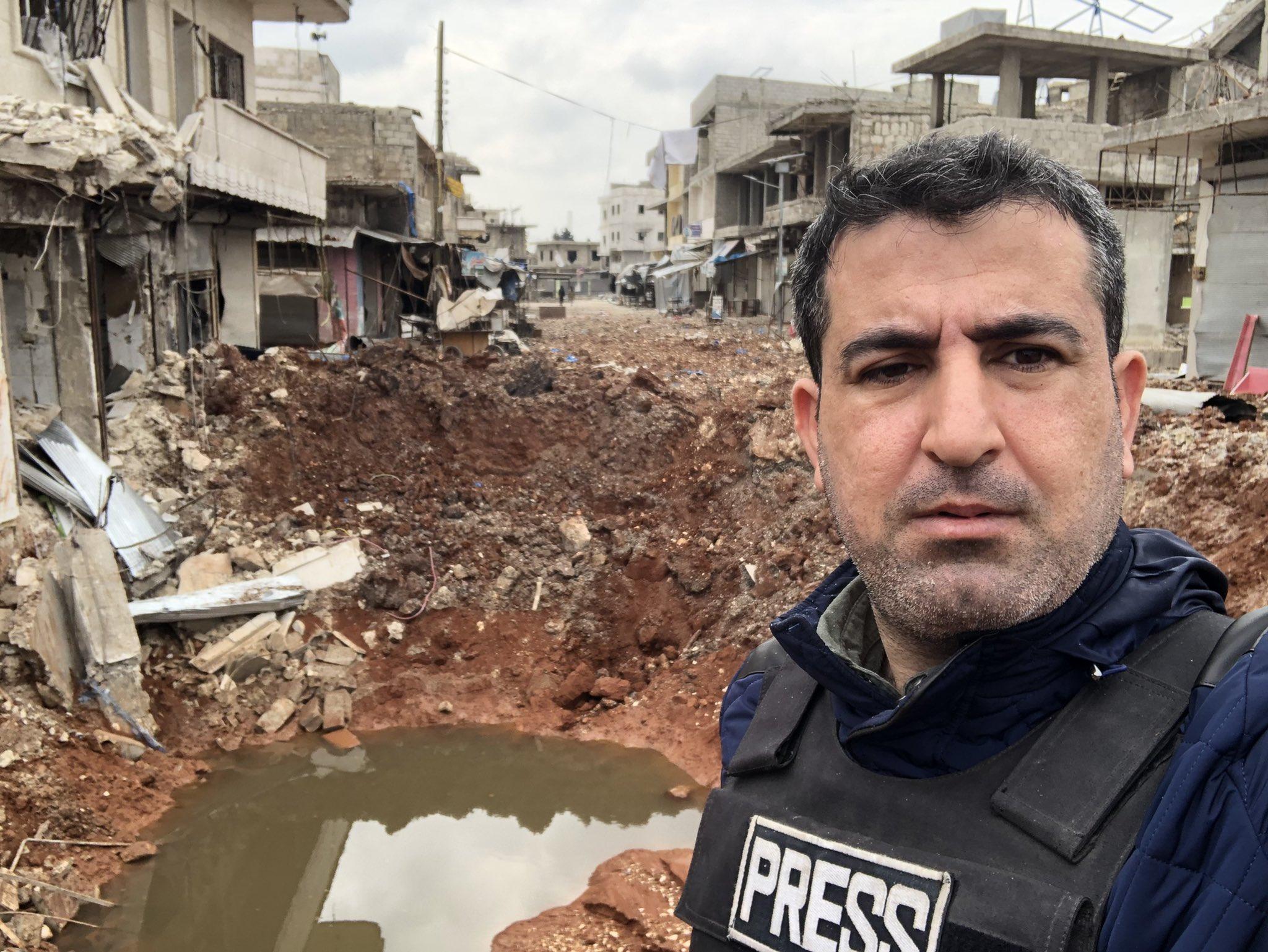 الصورة لسوق الأتارب خلال الاستهداف الأخير في شباط ٢٠٢٠ -المصدر تويتر من صفحة الإعلامي أحمد سعيد