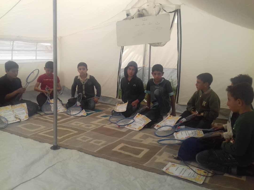 خيمة معهد الرعاية التعليمية للأيتام في بلدة كفريحمول -إنترنيت