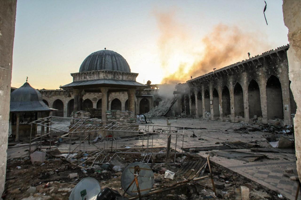 الدمار الذي طال الجامع الأموي بحلب القديمة -إنترنيت