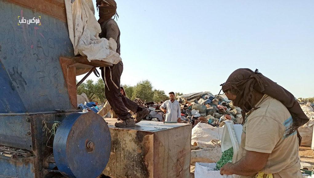 جرش وفرز البلاستيك بالقرب من مخيم