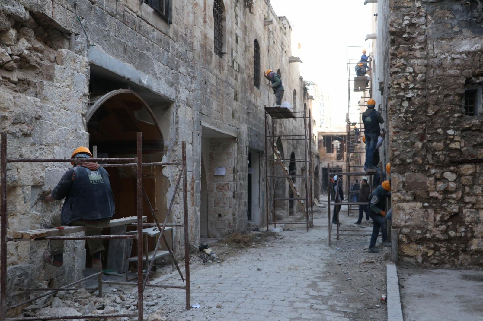 عملية ترميم سوق الحرير في حلب القديمة -إنترنيت