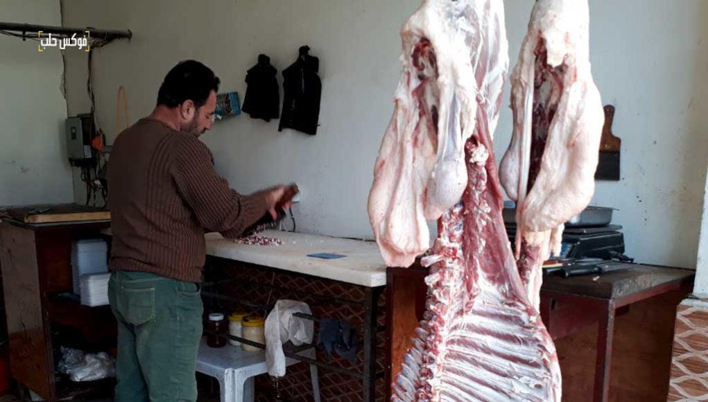 محل جزارة لبيع لحم الأغنام في إدلب