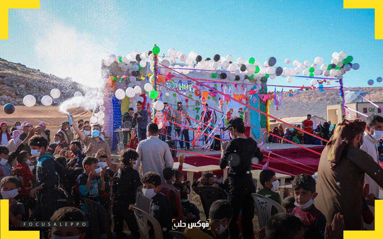 خلال الحفل الترفيهي الذي أقامته جمعية عطاء في مخيم براعم أبي الفداء بمنطقة سرمدا