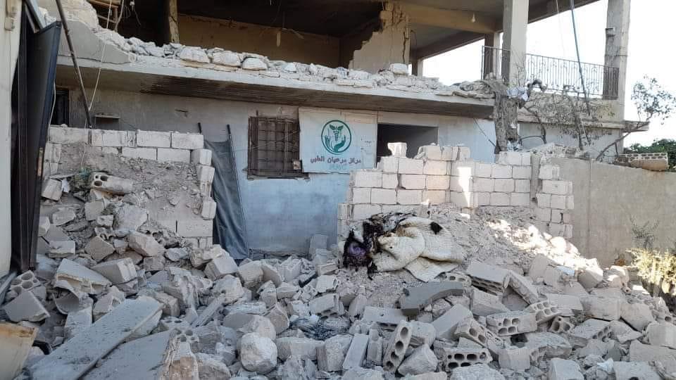 مركز مرعيان الطبي الذي تعرض للقصف بقذائف كراسنوبول -وسائل التواصل