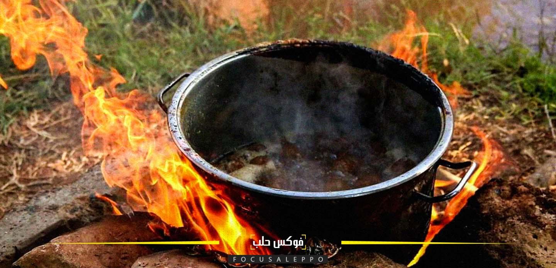 موقد تستخدمه أم ابراهيم للطهي وصناعة المربيات